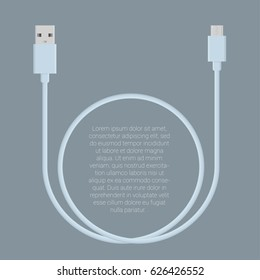Flat design  usb data charge cable connectors  vector template