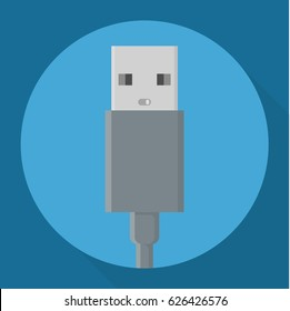 Flat design usb power data cable connectors long shadow vector icon