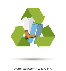 Flat design used clothing, shoes and textiles recycling vector icon
