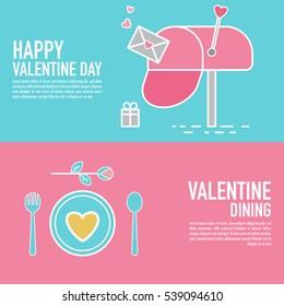 Flat design valentines horizontal banners.