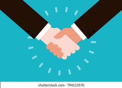 ?Handshake flat design, vector.