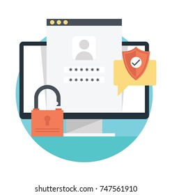 Flat design vector about password protection and security