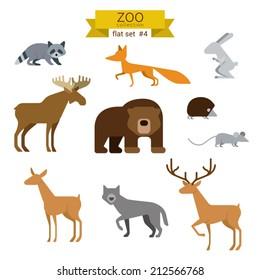 Flat design vector animals icon set. Bear, fox, hare, rabbit, moose, hedgehog, mouse, deer, wolves. Flat zoo children cartoon collection.