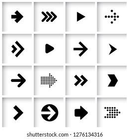 Flat design vector black dot screen arrow icon set.
