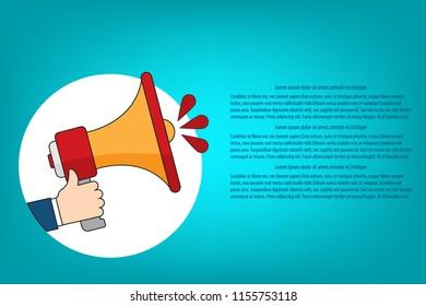 Flat design vector business illustration concept Digital marketing, hand holding megaphone for website and promotion banners.