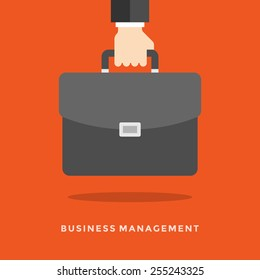 Flat design vector business illustration concept Management hand holding briefcase for website and promotion banners.