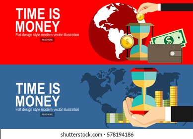 Flat design vector business illustration concept Investment.Time is money.