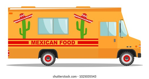 Flat design vector cartoon colorful illustration of food truck. Traditional Mexican street cuisine. Auto restaurant, mobile kitchen, hot fastfood, spicy food. Burrito, tacos, nachos.