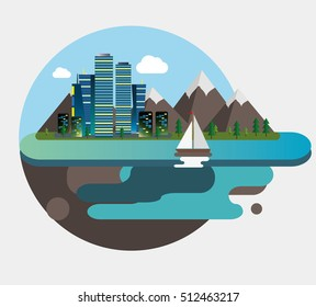Flat design vector. City port near the mountains buildings and yacht .