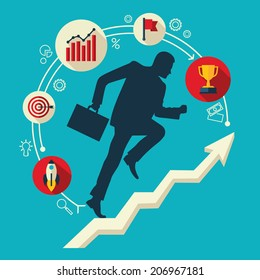 Flat design vector colored illustration of businessman running up along arrow surrounded by business icons. Concept for successful business, professional growth, career achievements