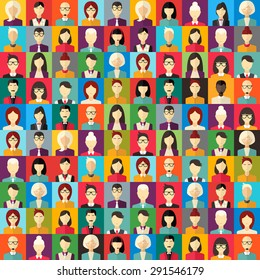 Flat Design Vector Colorful Background. Different People Character, Female, Male