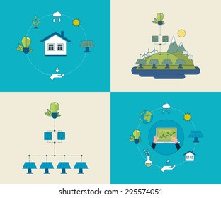 Flat design vector concept illustration with icons of ecology, environment and eco friendly energy. Concept of running a clean house and green energy. Thin line icons.