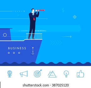 Flat design vector concept illustration. Businessman standing on a boat and looking through a telescope. Vector clipart. Icons set.