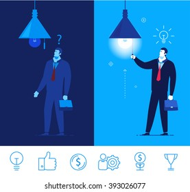 Flat design vector concept illustration. Businessman standing in the dark and do not know what to do. Businessman turns on the light, and idea comes. Vector clipart. Icons set. turn on the light.