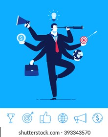 Flat design vector concept illustration. Businessman with multitasking and multi skill. Businessman with six hands holding objects telescope target portfolio Money Globe. Vector clipart. Icons set.