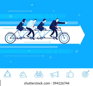 Flat design vector concept illustration. Teamwork. businessman and businesswoman sitting on the bike. Go to the target.  Vector clipart. Icons set.