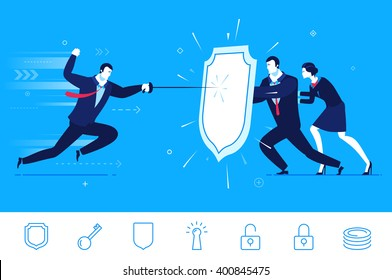 Flat design vector concept illustration. Teamwork. Businessman and businesswoman are protected by a shield from attack. Vector clipart. Icons set.