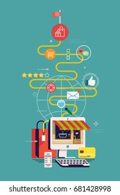 Flat design vector concept on Customer's Journey or experience with metaphorical path containing research, marketing, targeting, ratings and feedback, reviews, shopping process and product receiving