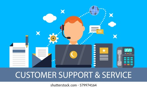 Flat design vector of customer service, support, after sales service, customer inquiry and feedback isolated on blue background