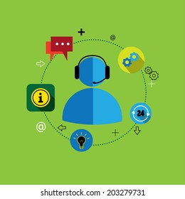 flat design vector of customer support & services or contact. This graphic also represents concepts customer centric solutions, support services, customer management