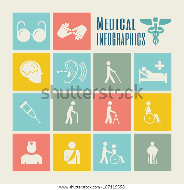 Flat design vector disability infographic elements. Infographic elements includes vector icons: disabled person with crutches, blind and deaf person with a disability, disabled person in a wheelchair.