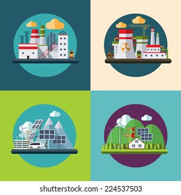Flat design vector ecology concept icons set for environment, green energy and nature pollution designs