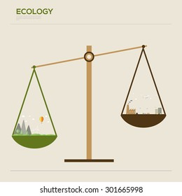 Flat design vector ecology concept infographic