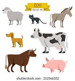 Flat design vector farm animals icon set. Sheep, cat, donkey, dog, cow, bull, pig Flat zoo children cartoon collection.