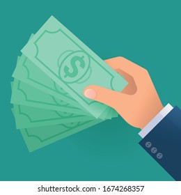 Flat design vector icon concept for hand with money.