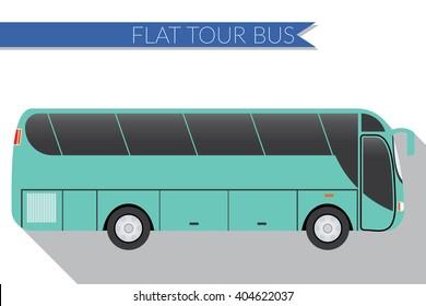 Flat design vector illustration city Transportation, Bus, intercity, long distance tourist coach bus, side view .