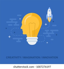 Flat design vector illustration concept for creativity, inspiration, imagination, innovation, discovery, power of mind, creative process, generating ideas isolated on bright background