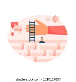 Flat design vector illustration concept for help in a complicated situation, providing support, solving problem, finding solution, therapy, coaching isolated on bright background