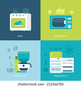 Flat design vector illustration concept retro vintage set of kitchen electronics. Oven, microwave, coffee maker, fridge. Big flat icons collection.