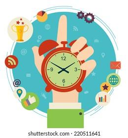 Flat design vector illustration concept for time management. Hand hold clock.