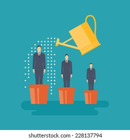 Flat design vector illustration concept for human resources management, helping employees to grow, work of hr, professional growth, career achievements isolated on bright background
