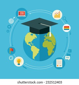 Flat design vector illustration concept for distance education, online learning, certificate programs, international educational projects, start of successful career isolated on bright background