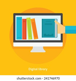 Flat design vector illustration concept for digital library, online book store, e-reading isolated bright background