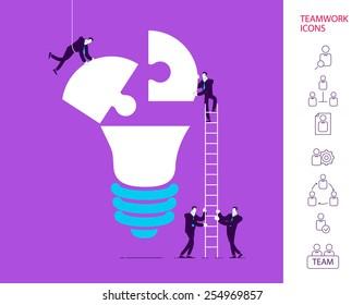 Flat design vector illustration concept of team work. Vector illustration .  Global colors.  Eps 10