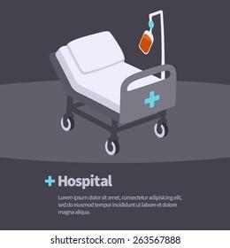flat design vector illustration concept of hospital gurney