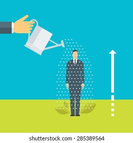Flat design vector illustration concept for training, coaching, supporting people in achieving goals, helping to grow, personal development isolated on bright background
