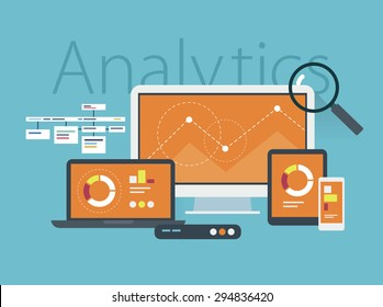 Flat design vector illustration concept of website analytics