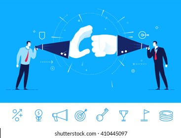 Flat design vector illustration concept of business situation. Two businessman fighting. Debate opponents. Vector clipart. Icons set.
