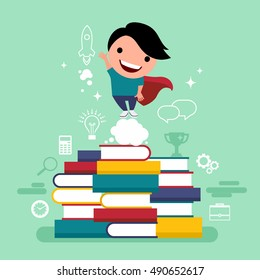 Flat design vector illustration concept of value education, knowledge, steps for successful careers, personal development