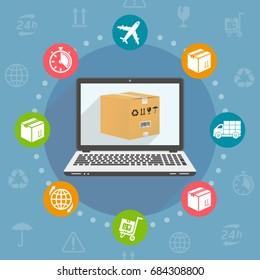 Flat design vector illustration concept for delivery service