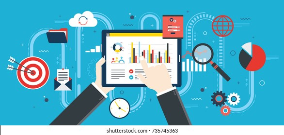 Flat design vector illustration concept of financial investment, analytics with growth report. Security and cloud data. Calculations and graphs of gains on the stock market and real cash earnings.