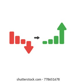 Flat design vector illustration concept of red sales bar chart symbol icon with arrow moving down and green sales bar chart with arrow moving up