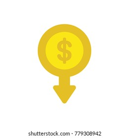 Flat design vector illustration concept of yellow dollar money coin symbol icon with arrow moving down.