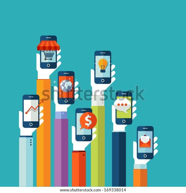 Flat design vector illustration concept for mobile apps