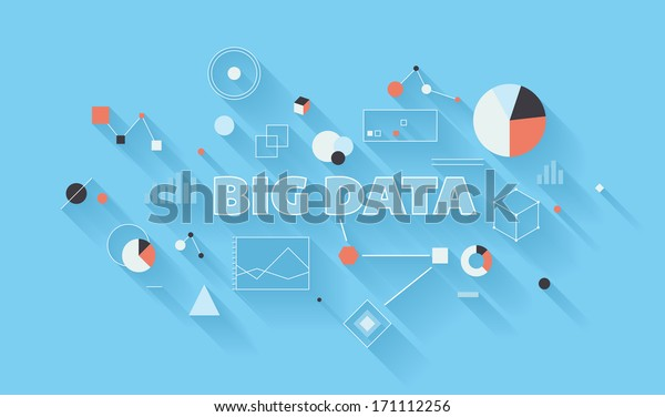 Flat design vector illustration concept of big data statistics and search analysis, complex process of advanced analytics, communication technology and large database research in different industry.