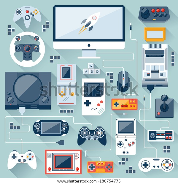 Flat design vector illustration concept of game environment, tools and essentials. Various devices. Collection in stylish trendy colors of virtual computer game items and elements.